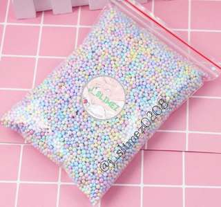 Pastel foam beads for slime