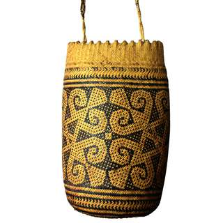 Sarawakian handmade wicker carry basket