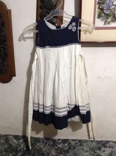 Blue and White Dress with belt