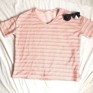 Red stripe v-neck shirt