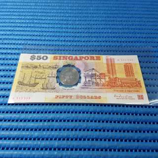 555550 1990 Singapore 25th Anniversary SG25 $50 Commemorative Note H 555550