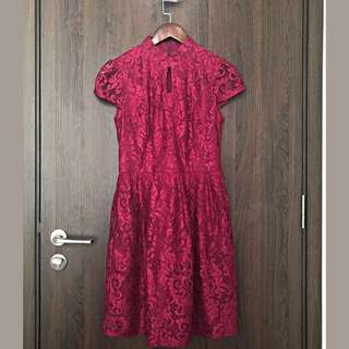 Cheongsam maroon red laced Cheongsum dress gown