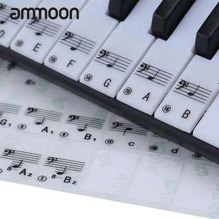 Keyboard Sticker Transparent Piano Keyboard Sticker 49/61 Key Electronic Keyboard 88 Key Piano Stave Note Sticker for White Keys