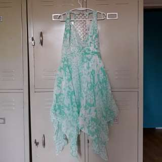 Aquamarine Twisted Tile Tank Dress
