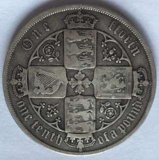 歌德式字體 18xx年 英國 維多利亞女皇 One Florin 銀幣