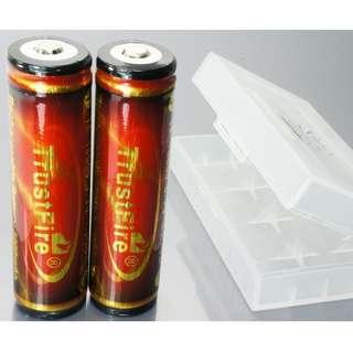 誠信神火 TrustFire 電池 (3000mAh) (紅) 18650 (2個)