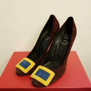 Roger Vivier 38 burgundy suede leather high heels