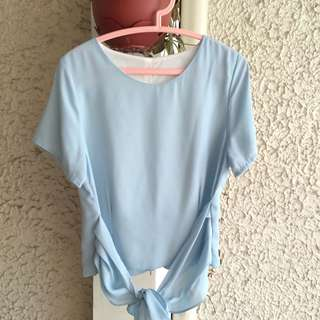Light blue semi crop blouse with ribbon