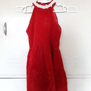 Red Velvety Halter Dress