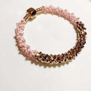 🚚 玫瑰金水晶編織手鍊