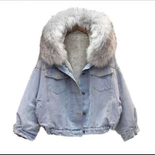韓版 加厚短款毛外套