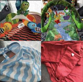 Baby play mat, musical mobile, breastfeeding cover, sling