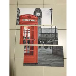 3 Piece Wall Deco ( Big Ben n London Telephone Booth)