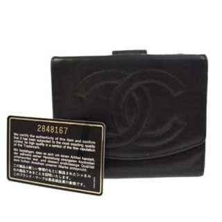 Vintage CHANEL CC Logo Wallet有卡有貼