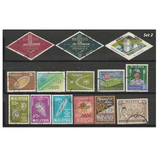 Malaya-Malaysia 1957-1971 6 complete sets of issues used <Set 2>