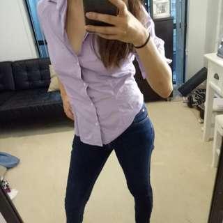 Ralph Lauren button up purple shirt