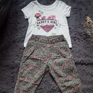Daddy's Girl Pink Flowery Set
