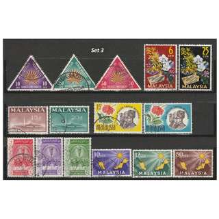 Malaya-Malaysia 1959-1967 6 complete sets of issues used <Set 3>