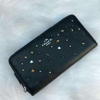 Readystock. Original Coach Accordion Wallet with Stardust in Black