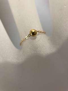 100% REAL 18k 黃金珠珠 指環 戒指