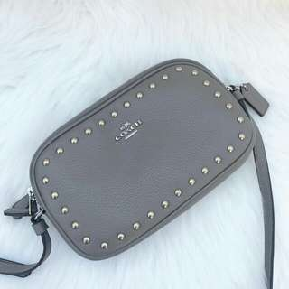 Readystock. Authentic Coach Crossbody Pouch with Rivets in Fog