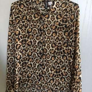 H&M 豹紋襯衫