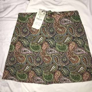 BRAND NEW Zara Trafaluc Aztec Embroidered A-line Skirt