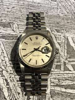 Rolex-16234-布紋面-W頭-蜜洞-淨錶!