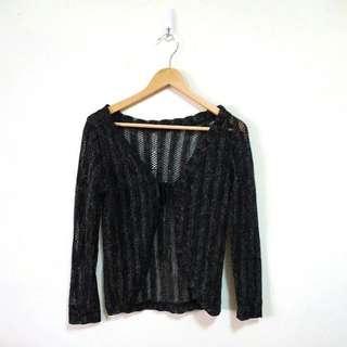 亮蔥鏤空織紋針織外套