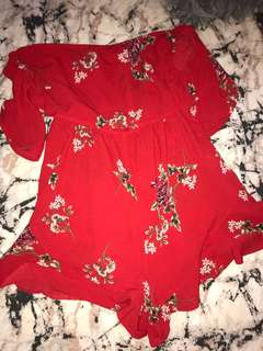 Red Floral playsuit