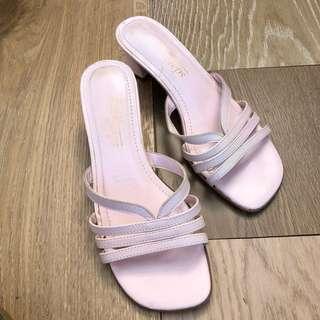 [VINTAGE] Leather Slides strappy pink heels - Easy Steps