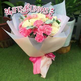 Fresh Flower Bouquet Anniversary Birthday Flower Gifts Graduation Roses Sunfowers Baby Breath -  52DDC