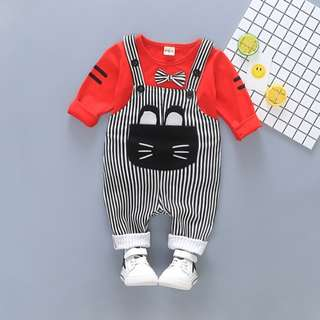<New> Unisex Overall Set - Cat Design Red Top