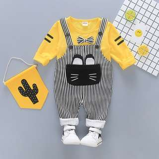 Unisex Overall Set - Cat Design Yellow Top