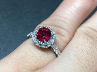 1.42卡紅寶石鑽石戒指
