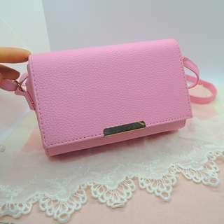 全新 - 粉色可愛簡約磁扣長方形小包