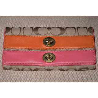 Coach Bonnie Signature Coral/light Khaki wallet