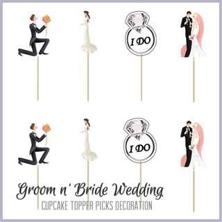 💏 GROOM n' BRIDE WEDDING • ENGAGEMENT CUPCAKE TOPPER PICKS DECORATION