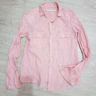 a la sha 粉色格子薄版襯衫-S號