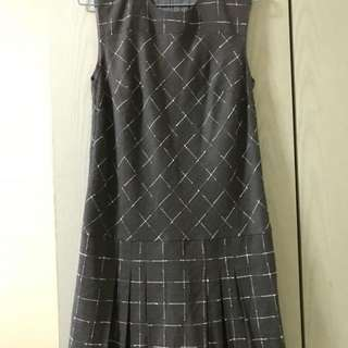 Checked drop waist dress