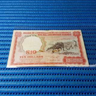 1961 Board Of Commissioners Of Currency Malaya And British Borneo $10 Note A/65 171563 Dollar Banknote Currency