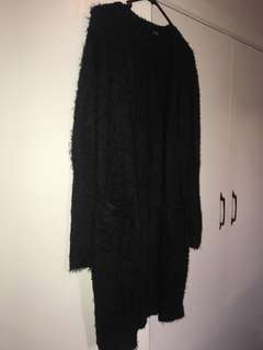 Black Fur Cardigan