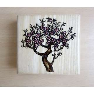 Tree with Blossoms Rubber Stamp