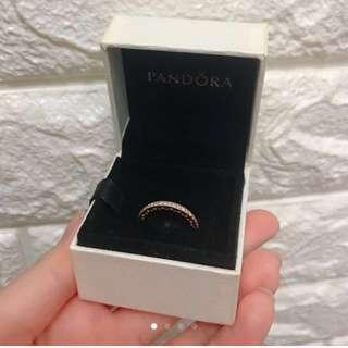 三折放Pandora 全新玫瑰金全石介指 12號size 朋友送不合