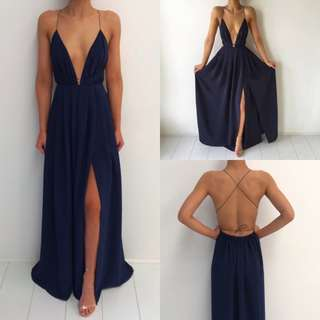 Navy Blossom Gown Natalie Rolt- Custom Made Ball Dress