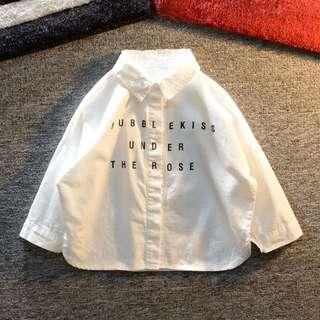 《預購》男童襯衫長袖純棉休閒白色襯衫寬鬆韓版簡約百搭時尚潮童