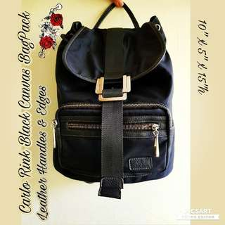 Versatile Carlo Rino Black Bag pack. Leather +canvas. Office/ casual/campus/shopping. Good & Clean condition. $18 Sale! Sms 96337309.