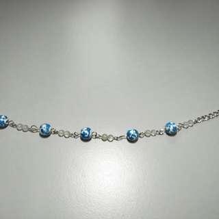 Handmade blue flower bracelet
