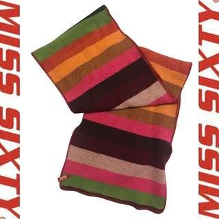 MISS SIXTY 🌈 彩色 條紋 毛料 針織 圍巾