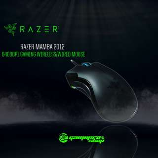 Razer Mamba 2012 6400DPI Gaming Wireless or Wired Mouse Black (RZ01-00120400-R3A1)